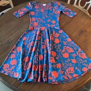LuLaRoe S Nicole dress- blue & coral floral print